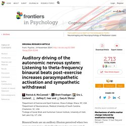 Auditory driving of the autonomic nervous system: Listening to theta-frequency binaural beats post-exercise increases parasympathetic activation and sympathetic withdrawal