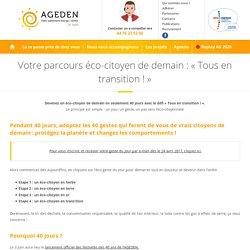"""Votre parcours éco-citoyen de demain : """"Tous en transition !"""" - AGEDEN"""