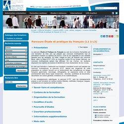 Parcours Étude et pratique du français (L1 à L3) - Université Paul Valery
