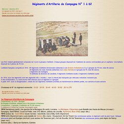 Parcours des Régiments d'Artillerie durant 14/18