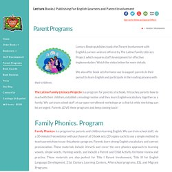Parent Programs - Lectura Books