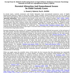 Parental Alienation And Enmeshment Issues In Child Custody Cases by Daniel J. Rybicki