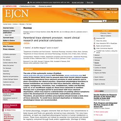 European Journal of Clinical Nutrition - Parenteral trace element provision: recent clinical research and practical conclusions
