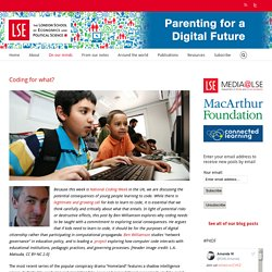 Parenting for a Digital Future – Coding for what?