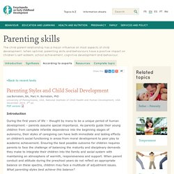 Parenting skills: Parenting style and child social development