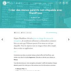 Créer des menus parents non cliquable avec WordPress