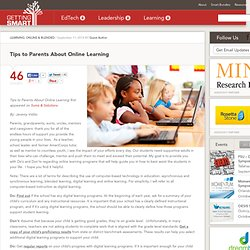 Tips to Parents About Online Learning