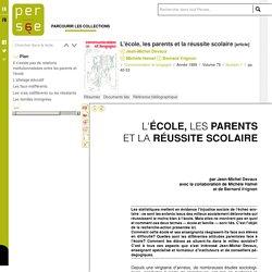 L'école, les parents et la réussite scolaire