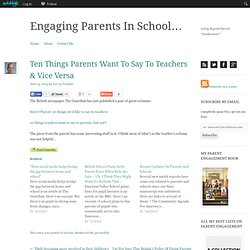 Ten Things Parents Want To Say To Teachers & Vice Versa