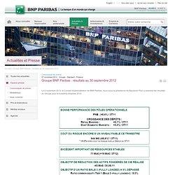 Groupe BNP Paribas : résultats au 30 septembre 2012
