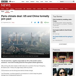 Paris climate deal: US and China formally join pact