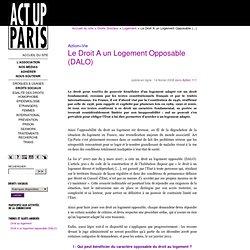 Le Droit A un Logement Opposable (DALO)