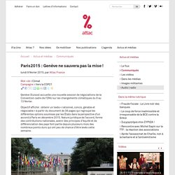 Paris2015 : Genève ne sauvera pas la mise