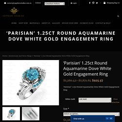 'Parisian' 1.25ct Round Aquamarine Dove White Gold Engagement Ring