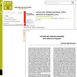 Lecture des Tableaux parisiens : Entre référence et imaginaire
