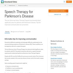 Parkinson's Disease & Speech Therapy