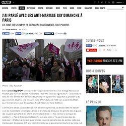 J'ai parlé avec les anti-mariage gay dimanche à Paris