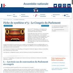 Fiche de synthèse : Le Congrès du Parlement - Rôle et pouvoirs de l'Assemblée nationale