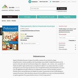 Revue Parlement[s], Revue d'histoire politique 2013/3