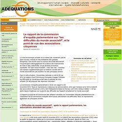 """Le rapport de la commission d'enquête parlementaire sur """"les difficultés du monde associatif"""", et le point de vue des associations citoyennes"""