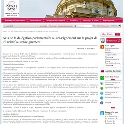 Avis de la délégation parlementaire au renseignement sur le projet de loi relatif au renseignement- Sénat