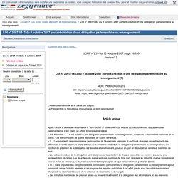 LOI n° 2007-1443 du 9 octobre 2007 portant création d'une délégation parlementaire au renseignement