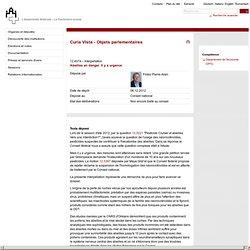PARLEMENT SUISSE 13/02/13 Réponse à question : Abeilles en danger. Il y a urgence