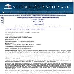 Compte rendu de réunion de l'office parlementaires d'évaluation des choix scientifiques et technologiques