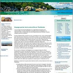 Voyage en Thaïlande parler de sécurité