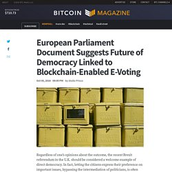 European Parliament Document Suggests Future of Democracy Linked to Blockchain-Enabled E-Voting