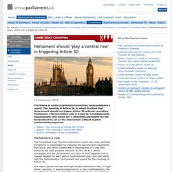 Parliament should 'play a central role' in triggering Article 50 - News from Parliament - UK Parliament
