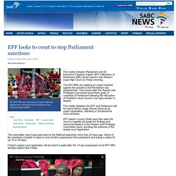 EFF looks to court to stop Parliament sanctions:Friday 19 December 2014