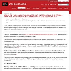 Abuse of Parliamentary procedure: introducing the Comms Data Bill into the Counter Terrorism and Security Bill