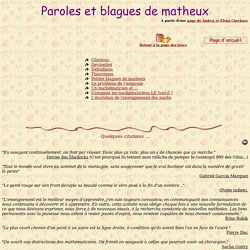 Paroles et blagues de matheux