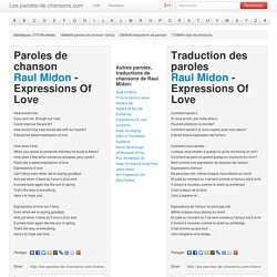 Paroles de chanson Raul Midon - Expressions Of Love traduction, lyrics