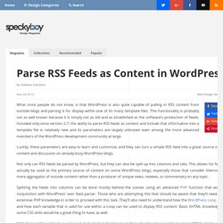 Parse RSS Feeds as Content in WordPress