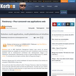 Parsimony – Pour concevoir vos applications web