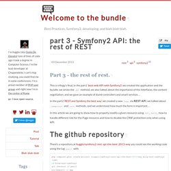 part 3 - Symfony2 API: the rest of REST