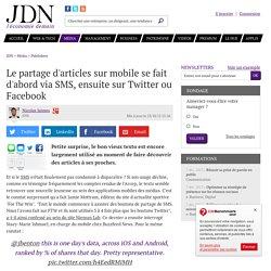 Le partage d'articles sur mobile se fait d'abord via SMS, ensuite sur Twitter ou Facebook