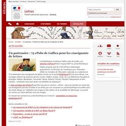 Un partenaire : 75 ePubs de Gallica pour les enseignants de lettres-Lettres-Éduscol