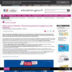 Droit au retour en formation : l'École et ses partenaires s'engagent aux côtés des jeunes