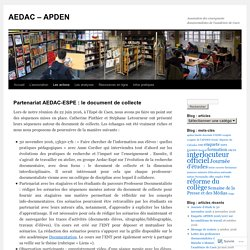 Partenariat AEDAC-ESPE : le document de collecte