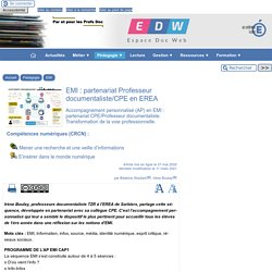 EMI : partenariat Professeur documentaliste/CPE en EREA - [Espace Doc Web]