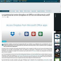 Le partenariat entre Dropbox et Office est désormais actif