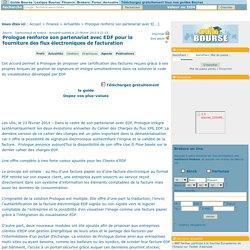 Prologue renforce son partenariat avec EDF pour la fourniture des flux électroniques de facturation