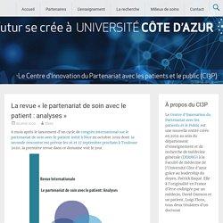 La revue «le partenariat de soin avec le patient : analyses» / Université Côte d'azur, octobre 2020