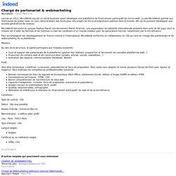 Chargé de partenariat & webmarketing - 75017 Paris 17e - Indeed Mobile