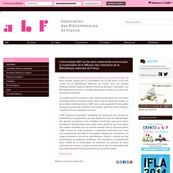 Communiqué ABF sur les deux partenariats conclus pour la numérisation et la diffusion des collections de la Bibliothèque nationale de France