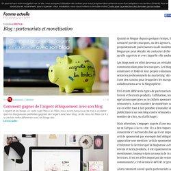 Blog : partenariats et monétisation