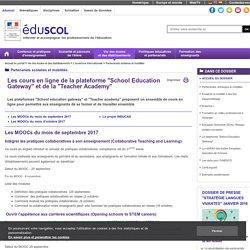 """Partenariats scolaires et mobilités - Cours en ligne du""""School Education Gateway"""" et de la """"Teacher Academy"""""""